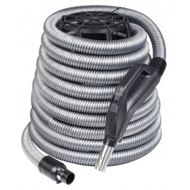 """Hose for Central Vacuum - 40' (12 m) - 1 3/8"""" (35 mm) dia - Silver - Curved Handle - On/Off Button - Button Lock"""