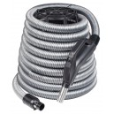 "COMPLETE CENTRAL VACUUM HOSE GRAY COLOR 24V 1 3/8 "" X 40 ' WITH PUMP GAS HANDLE AND ON / OFF SWITCH"