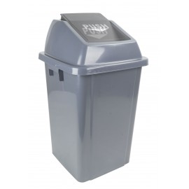 RECTANGULAR GARBAGE CAN WITH LID 60 L/ 16 GAL GREY & MEDIUM GREY