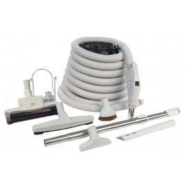 Ensemble pour aspirateur central - boyau 9 m (30') poignée pompe à gaz - balai à air - brosse à plancher - brosse à épousseter - brosse pour meubles - outil de coins - manchon téléscopique - supports pour boyau et outils - gris