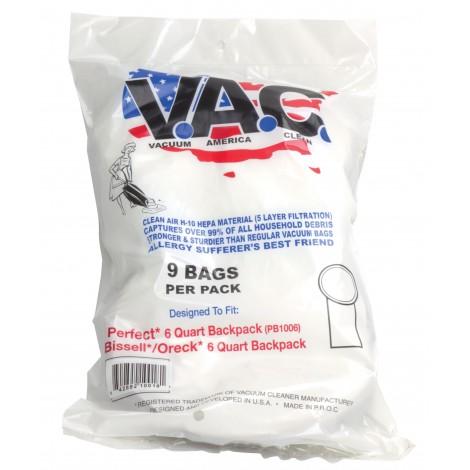 HEPA Microfilter Vacuum Bag for Back Pack - Perfect PB1006 - Bissel 6 Quarts - Oreck 6 Quarts - Pack of 9 Bags - Vac19