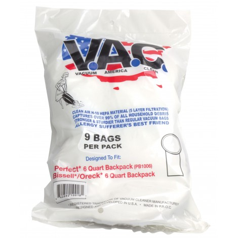 Sac microfiltre HEPA pour aspirateur dorsal - Perfect PB1006 - Bissel 6 litres - Oreck 6 litres - paquet de 9 sacs - Vac19