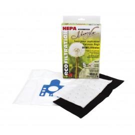 Sacs 705JV microfiltre HEPA pour Aspirateur - Miele, types F-J-M - Paq/5 sacs + 2 filtres