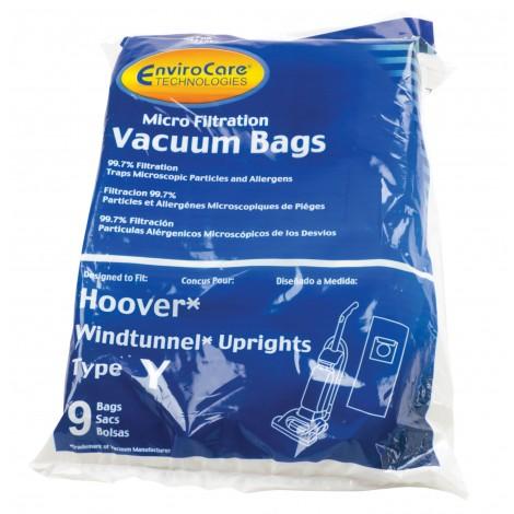 Sac microfiltre pour aspirateur vertical Hoover Windtunnel type Y - paquet de 9 sacs - Envirocare 856-9