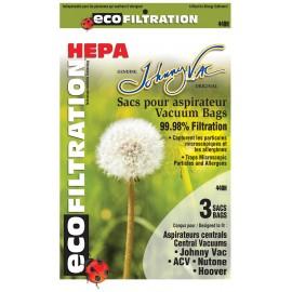 Sacs microfiltre HEPA pour aspirateurs centraux: Johnny Vac-Rhinovac - Nutone/ Hoover, Kenmore et bien d'autres marques paq/3