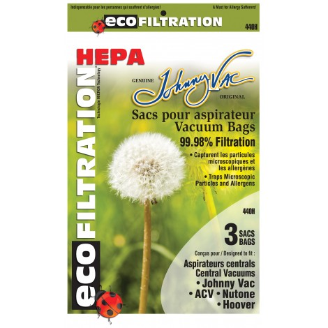 Central Vacuum Bags 440H Microfilter Hepa - Johnny Vac - Rhinovac - Nutone - Hoover - Kenmore and Many More - 3-Pack