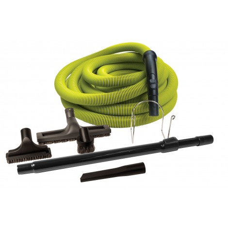 Used: CENTRAL VACUUM KIT HOSE 50' LIME WITH TOOL AND WAND