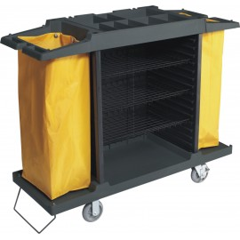 Chariot d'entretien ménager à grande capacité de rangement muni de deux emplacements pour sacs à ordures