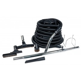 Central Vacuum Kit for Garage - 35' (10 m) Black Hose - Floor Brush - Dusting Brush - Upholstery Brush - Crevice Tool - Telescopic Wand - Metal Hose Hanger - Black