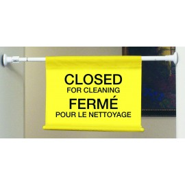 """Hanging Poster with Bilingual Inscription: """"Closed for Cleaning"""" - Lock Pole stretches up to 50 """" (4')"""