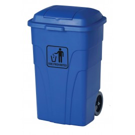 Trash Garbage Can Bin - Heavy Duty - with Lid - on Wheels - 31.6 gal (120 L) - Blue