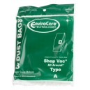 Paper Bag for Shop Vac Vacuum Type A - Tank Capacity of 1.25 gallons (5.7 L) - Pack of 3 Bags - Envirocare 360SW