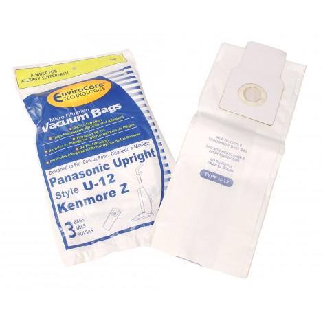 Microfilter Bag for Upright Vacuum Panasonic Type U-12 / Kenmore Z - Pack of 3 Bags - Envirocare 190