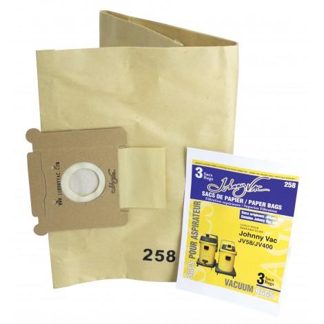 Sac en papier pour aspirateur Johnny Vac modèles JV58 et JV400 - paquet de 3 sacs