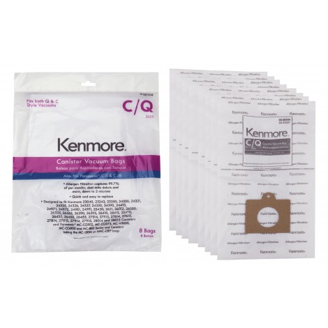 Kenmore Vacuum Bags for Canister Vacuums, Style C/Q - 50104 - 8 Pack