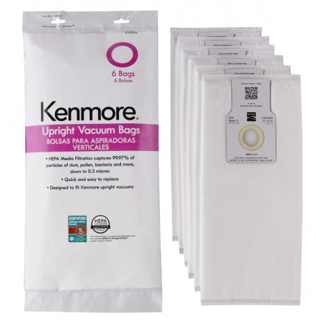 Kenmore HEPA Vacuum Bags for Upright Vacuums USA Type Q/C - Canada 20-50510 - 53294 - 6 Pack