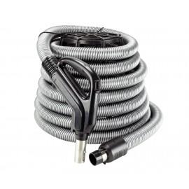 """Boyau d'aspirateur central complet 24V 1 3/8"""" X 30' avec bouton-barrure et poignée de type pompe à gaz munie d'un interrupteur"""