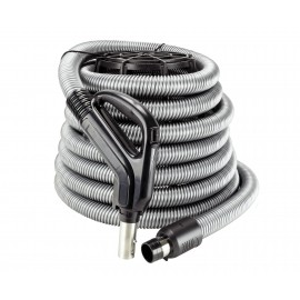 "Hose for Central Vacuum - 30' (9 m) - 1 3/8"" (35 mm) dia - Silver - Gas Pump Handle - On/Off Button - Button Lock"