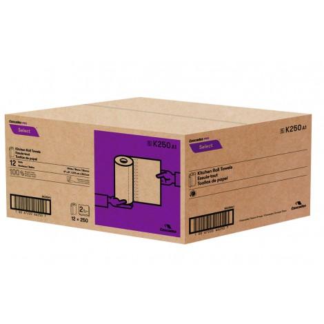 "Kitchen Roll Towel - 2-Ply - 11"" x 8"" (27.9 cm x 20.3 cm) - 250 Sheets - Box of 12 Rolls - White - Cascades Pro K250"