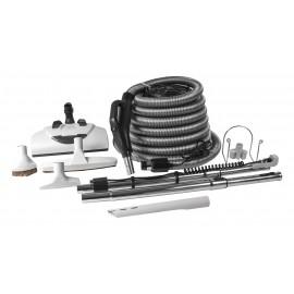 Ensemble pour aspirateur central - boyau électrique 10 m (35') argent - balai électrique Wessel-Werk - brosse à plancher - brosse à épousseter - brosse pour meubles - outil de coins - 2 manchons télescopiques - supports pour boyau et outils - gris