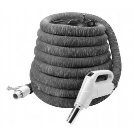 """Electrical Hose for Central Vacuum - 30' (9 m) - 1 3/8"""" (35 mm) dia - with Hose Cover - Gas Pump Handle - On/Off Button - Button Lock"""