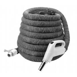 """Boyau électrique pour aspirateur central - 35' (10 m) - 1 1/4"""" (32 mm) dia - gris - poignée pompe à gaz - bouton marche/arrêt - compatible balai électrique - bouton-barrure - housse de boyau incluse"""