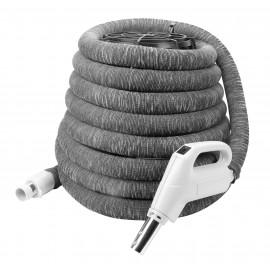"""Boyau pour aspirateur central - 35' (10 m) - 1 3/8"""" (35 mm) dia - gris, poignée pompe à gaz - bouton marche/arrêt - bouton-barrure - housse de boyau incluse"""