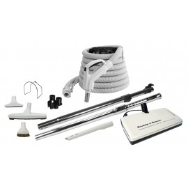 """Central Vacuum Kit - 30' (9 m) Electric Hose - 12"""" (30 cm) Floor Brush & Power Nozzle with Multiple Grey Tools - Telescopic Wand"""