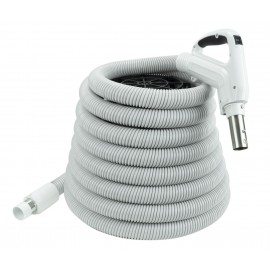 Hose for Central Vacuum - 35' (10 m) - Gas Pump Handle - Grey - Button Lock - On/Off Button