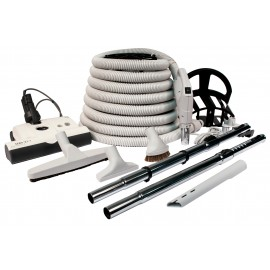 Central Vacuum Kit - 35' (10 m) Electrical Hose - SEBO Power Nozzle - Floor Brush - Dusting Brush - Upholstery Brush - Crevice Tool - 2 Telescopic Wands - Hose and Tools Hangers - Light Grey