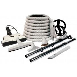 Ensemble pour aspirateur central - balai électrique SEBO - manchon télescopique, brosses, outils, support et boyau de 35' (10 m) - gris pale