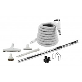 Central Vacuum Kit - 35' (10 m) Hose - Floor Brush - Dusting Brush - Upholstery Brush - Crevice Tool - Telescopic Wand - Hose and Tools Hangers - Grey