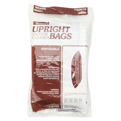 Paper Bags 50670 for Kenmore Upright Vacuum / 6-Pack