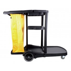 Janitor Cart with Front Casters & Non-Marking Rear Wheels - Polyester Garbage Bag Support - 3 Shelves - Black