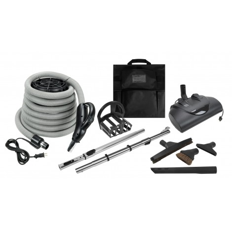 "Central Vacuum Kit - 30' (9 m) Electric Hose - 12"" (30,5 cm) Power Nozzle and Floor Brush with Set of Black Tools - Telescopic Wand"