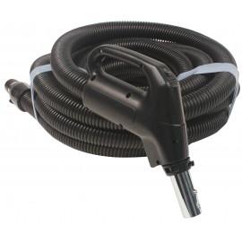 """Boyau pour aspirateur central - 7 m (25') - 35 mm (1 3/8"""") dia - gris - poignée pompe à gaz - bouton marche/arrêt - Plastiflex XE130138025FU"""