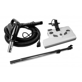"AS6 Electric Kit - Electrical Black Hose for Vacuum ( 8' (2,43 m) - 14"" Power Nozzle White Color Lindhaus LH6114 - Telescopic Wand with Quick Connect"