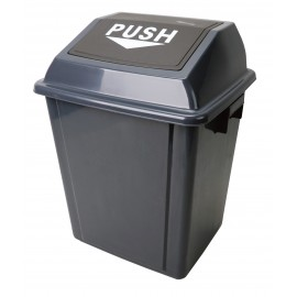 Trash Garbage Can Bin with Swing Lid - 6.6 gal (25 L) - Black and Grey