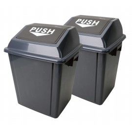 Trash Garbage Can Bin with Push Down Lid - 6.6 gal (25 L) - Grey and Black - Pack of 2