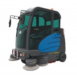 "Industrial Ride-On Sweeper Machine JVC59SWEEPN from Johnny Vac - 74 1/4"" (1886 mm) Cleaning Path - Cabine - Battery & Charger Included"