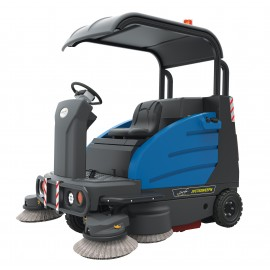 "Industrial Ride-On Sweeper Machine JVC75SWEEPN from Johnny Vac - 74 1/4"" (1886 mm) Cleaning Path - Roof - Battery & Charger Included"