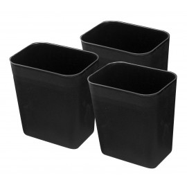 Office Trash Can / Bin - Wastebasket - 2 gal (8 L) - Black - Pack of 3