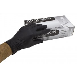 Nitrile Disposable Gloves - Powder-Free - Shur-Skin - Black - Small Size - 9-NITNO-6MIL-S - Box of 100