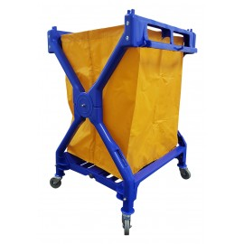 Commercial Folding X-Frame Laundry / Mail Cart - 4 Swivel Casters / Wheels - Polyester Bag Support - Blue