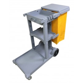 Janitor Cart with Front Casters & Non-Marking Rear Wheels - Polyester Garbage Bag Support - 3 Shelves - JS0006GY - Grey