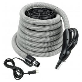 Boyau électrique pour aspirateur central - 9 m (30') - gris foncé - poignée pompe à gaz - bouton marche/arrêt - compatible balai électrique - bouton barrure