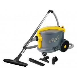Aspirateur chariot commercial - Johnny Vac - AS6 - outils à bord - sac en papier - gris et jaune