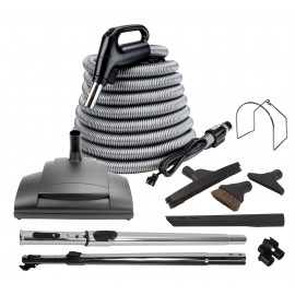 Central Vacuum Kit - 35' (10 m) Silver Hose - Power Nozzle Wessel-Werk - Floor Brush - Dusting Brush - Upholstery Brush - Crevice Tool - 2 Telescopic Wands - Hangers - Black