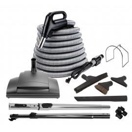 Ensemble pour aspirateur central - Boyau de 10 m (35') argent - balai électrique Wessel-Werk - brosse à plancher - brosse à épousseter - brosse pour meubles - outil de coins - 2 manchons télescopiques - supports - noir