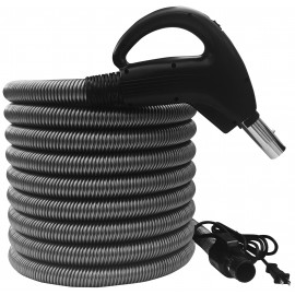 """Boyau électrique pour aspirateur central - 10 m (35') - (1 1/4"""") dia - gris - poignée pompe à gaz - bouton marche/arrêt - compatible balai électrique - bouton-barrure - Plastiflex SV902114035BCU"""